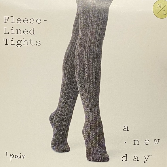 A New Day Fleece Lined Tights Charcoal Heather